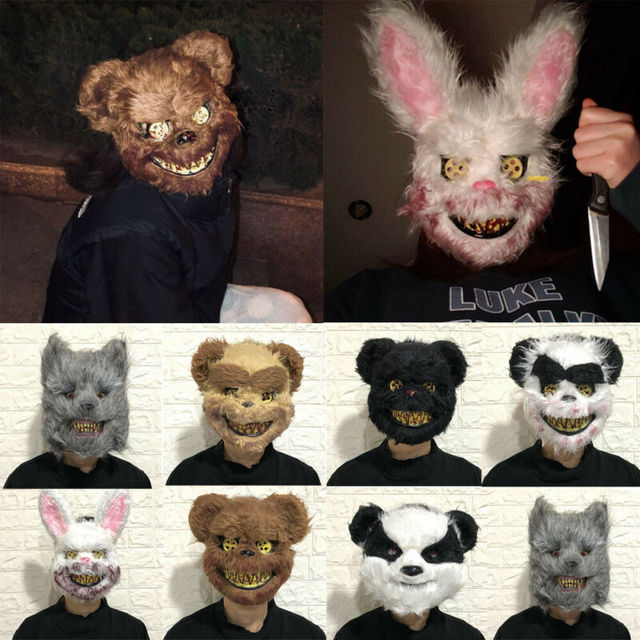 Halloween Scary Bloody Latex Animal Wolf Head With Hair Mask Fancy Dress Costume Party Horror Mask Adult/Kids