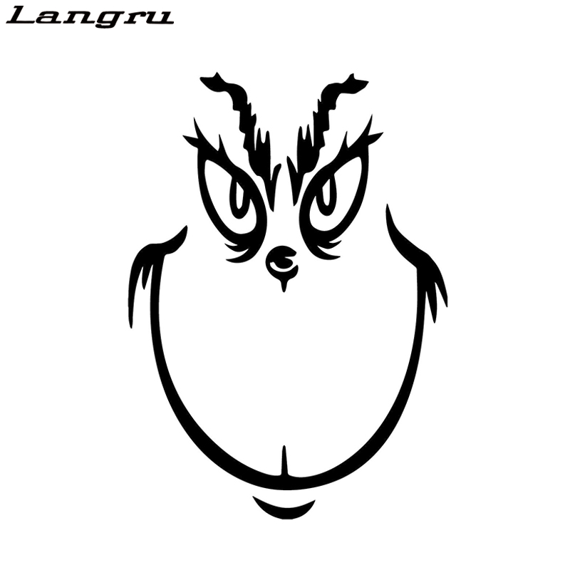Langru 15*10.7cm Grinch Face Smile Decorative Stickers Car Window Decals Christmas Movie Smile Car Sticker Jdm