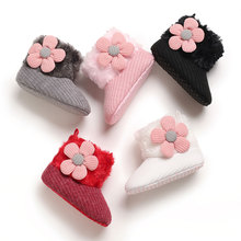 Baby Girls Snow Boots Winter Warm Lovely Soft Faux Fur Knit Flower Booties Anti-Slip Infant Prewalkers 0-18M