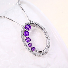 925 Sterling Silver Natural Amethyst Pendant Japan Korea Trendy Pendants Fine Jewelry Women Female Gift Without Necklace