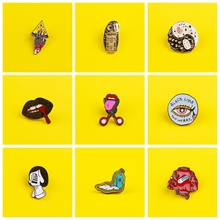 Organ Brooches On a Backpack Set Mouth Eye Metal Badges For Clothes Pizza Enamel Pin On Jeans Jacket Jewelry Gift Accessories
