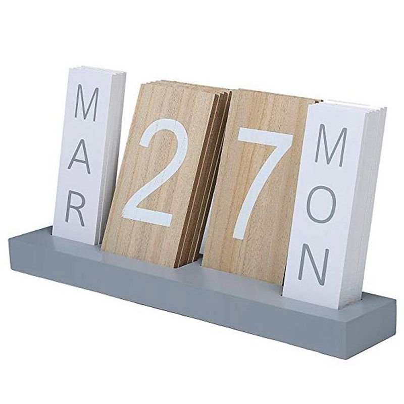 Wooden Calendar Desktop Display Perpetual Calendar Living Room Bedroom Home Decoration