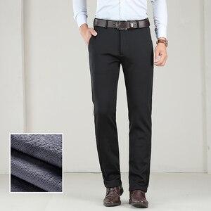 Image 5 - גדול גודל 40 42 44 חורף גברים חם מכנסי קזואל עסקי אופנה קלאסי סגנון לעבות למתוח מכנסיים זכר מותג אפור חאקי