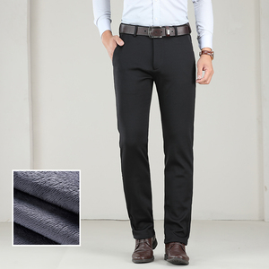 Image 5 - Big Size 40 42 44 Winter Men Warm Casual Pants Business Fashion Classic Style Thicken Stretch Trousers Male Brand Gray Khaki