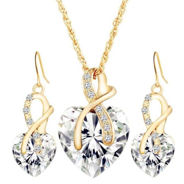 Conjunto de joyería de cristal de arcoíris Vintage para mujer, aretes colgantes de Color dorado con abalorio para mujer, corazón amor, collar de cadena de boda Simple 2