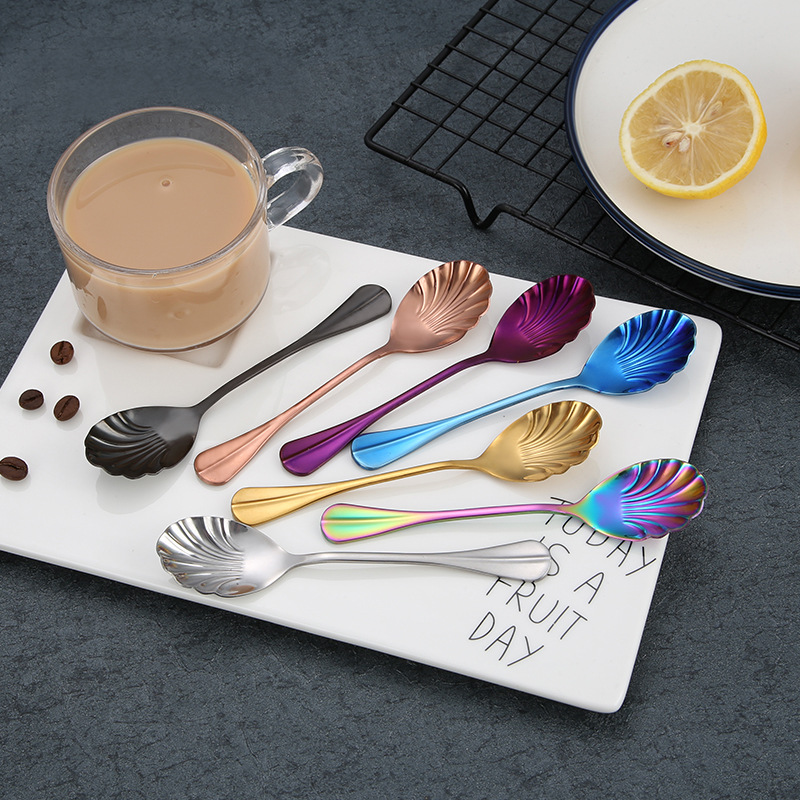 Rainbow Flatware 1 Pcs Handled Stainless Steel Coffee Spoon Ice Cream Dessert Tea Spoon For Picnic Kitchen Accessories