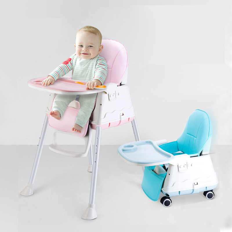 New High Quality  Multifunctional Adjustable Baby Children Safety Dining Room High Chair With Wheels Warm Seat Cushion