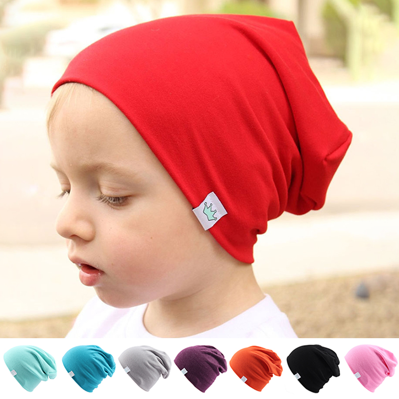 Fashion Cute Solid Knitted Cotton Hats For Newborn Baby Children Autumn Winter Warm Earmuffs Colorful Crown Caps Skullies