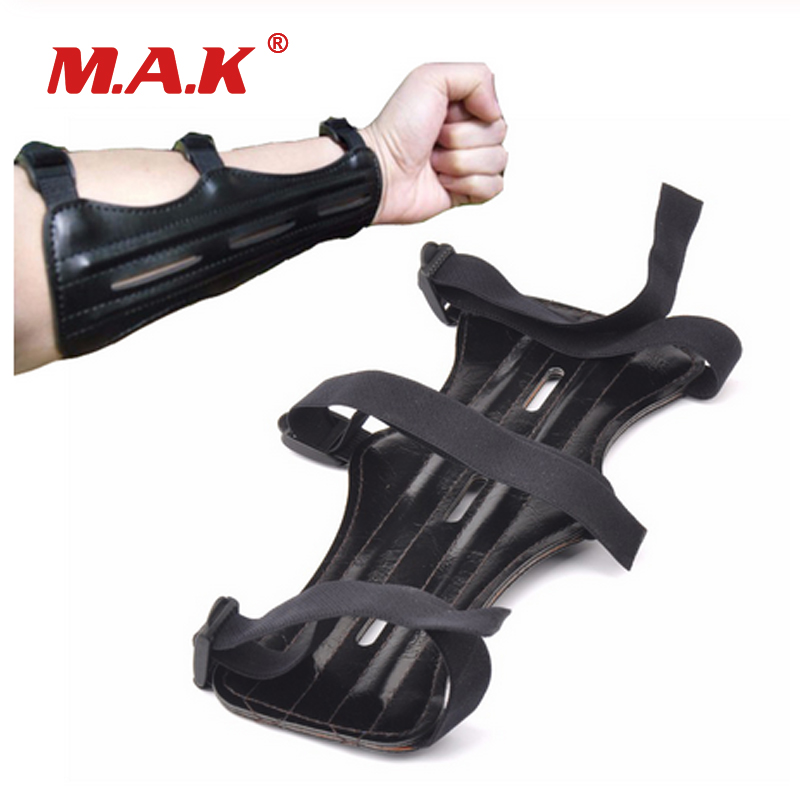 1 Pc Arm Guard 9 Inches With 3 Strap PU Leather Arm Guard Protection Safe Guard With 2 Rods For Archery Hunting Shooting