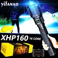 Linterna LED potente XHP160, 16 núcleos, recargable vía Usb, táctil, Zoom, linterna de caza, Xlamp como banco de energía de 10000mAH
