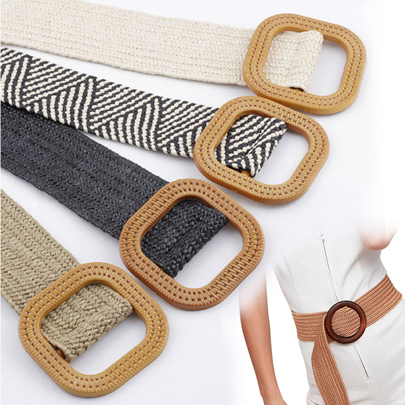 2019 New Women belt Wide Straw Braided Woven Belt Female Round Square Wooden Buckle Belts for Women Dress Cinturon Madera Paja in Women 39 s Belts from Apparel Accessories