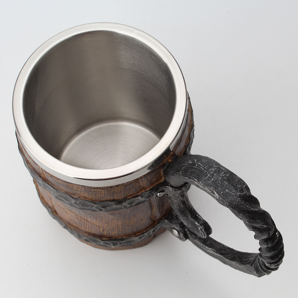 Wooden barrel Stainless Steel Resin 3D Beer Mug Goblet Game Tankard Coffee Cup Wine Glass Mugs 650ml BEST GOT Gift 2