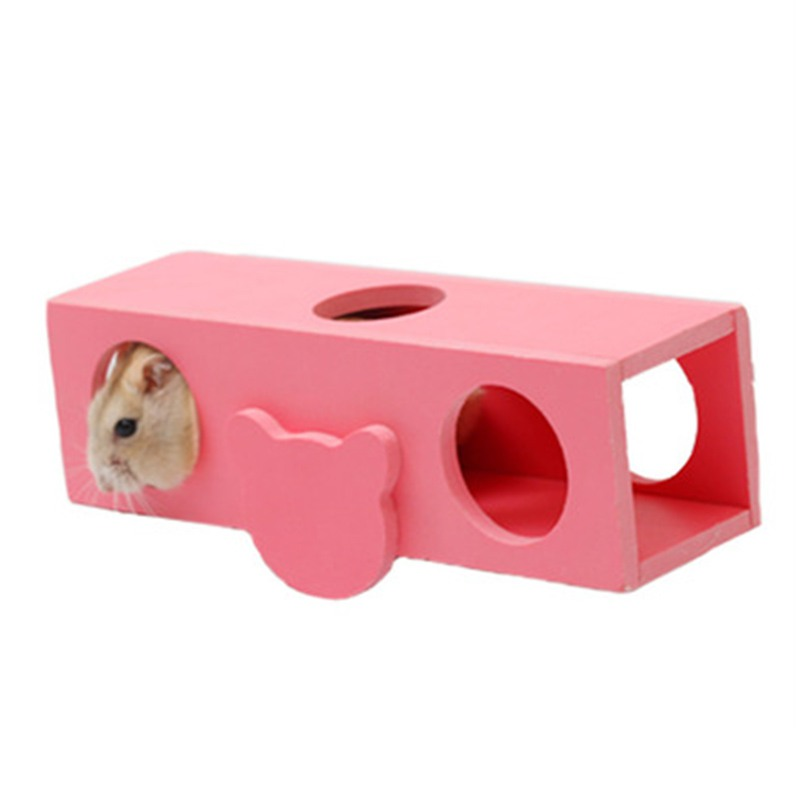 Hamster Seesaw Barrel Toys Wooden Tunnel Tube Pet Toys Mouse Gerbil Climbing Toys