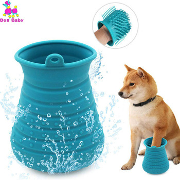 1PC Soft Silicone Dog Paw Washer Portable Comfortable Cleaner Cup Cats Grooming Brush Glove  Pet Hair Cleaning
