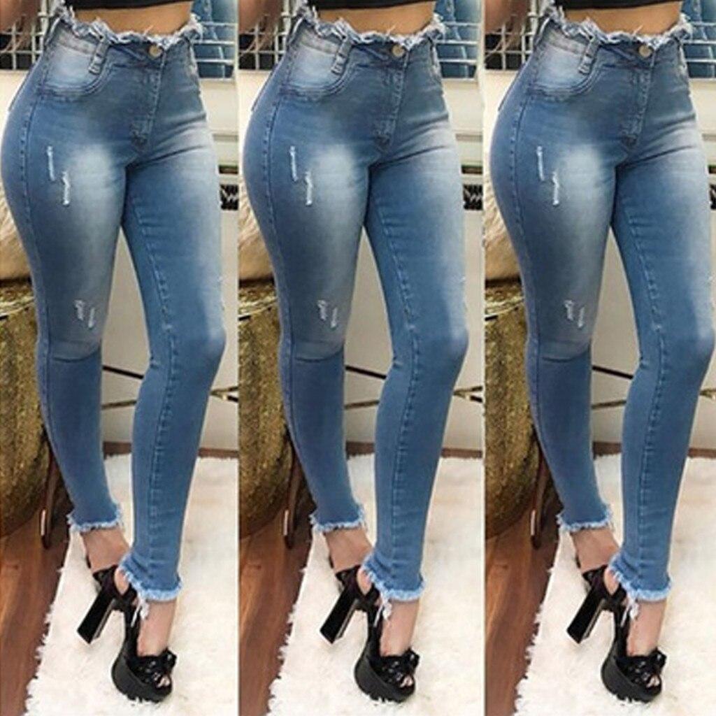 Fashion Women Denim Skinny Pants Super Stretch High Waisted Stretch Slim Pants Elastic Lady Jeans #35