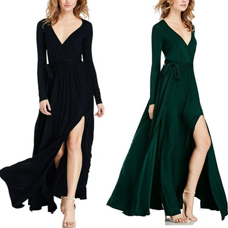 Women 39 s New Dresses Sexy V neck Dresses Long Sleeve Open Dresses in Dresses from Women 39 s Clothing