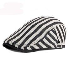 HT3027 Beret Men Women Striped Beret Hat Spring Summer Ivy Newsboy Flat Cap Retro Artist Painter Hat Adjustable Gastby Beret Cap