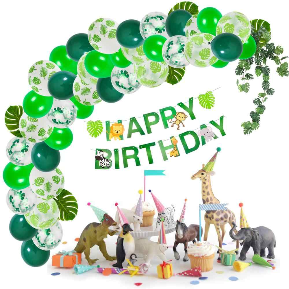 HUIRAN-fournitures d'animaux de la Jungle | Décoration de fête joyeux anniversaire, décor de fête thème Jungle pour garçon garçon, décor de fête Safari, forêt verte
