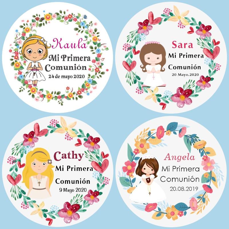 bautizo embalaje personalizado 20 Bolsas Kraft detalle de boda comuni/ón 20 Etiquetas adhesivas kraft personalizadas