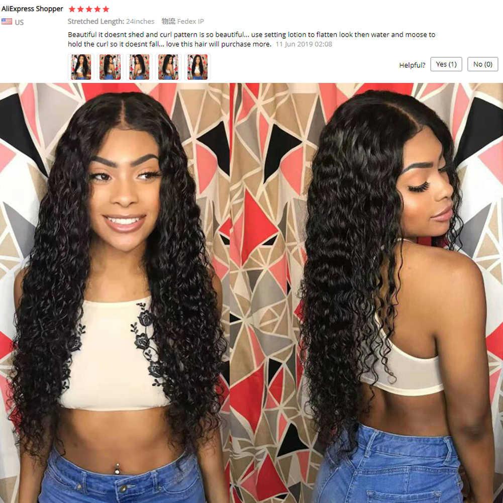 """Fave perucas da parte dianteira do laço do cabelo humano 4x4 fechamento onda de água peruca remy malaio glueless 8-24 """"densidade de 150% para preto"""