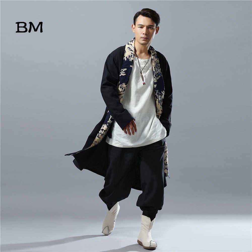 Мужское длинное пальто, льняное кимоно в стиле пэчворк с китайским драконом, свободная ветровка, тренчкот, осень 2019