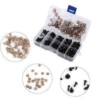 Ojos de seguridad artesanales de plástico negro para oso de peluche, 100 Uds., 6-12mm, juguete suave de Color sólido, resina de plástico, accesorios para bricolaje