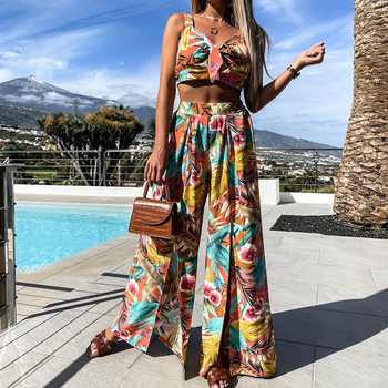 Print Boho Pant Suits Summer Women 2 Piece Sets Spaghetti Strap Crop Tops Split Wide Leg Pant Sexy Beach Vacation Outfits 5