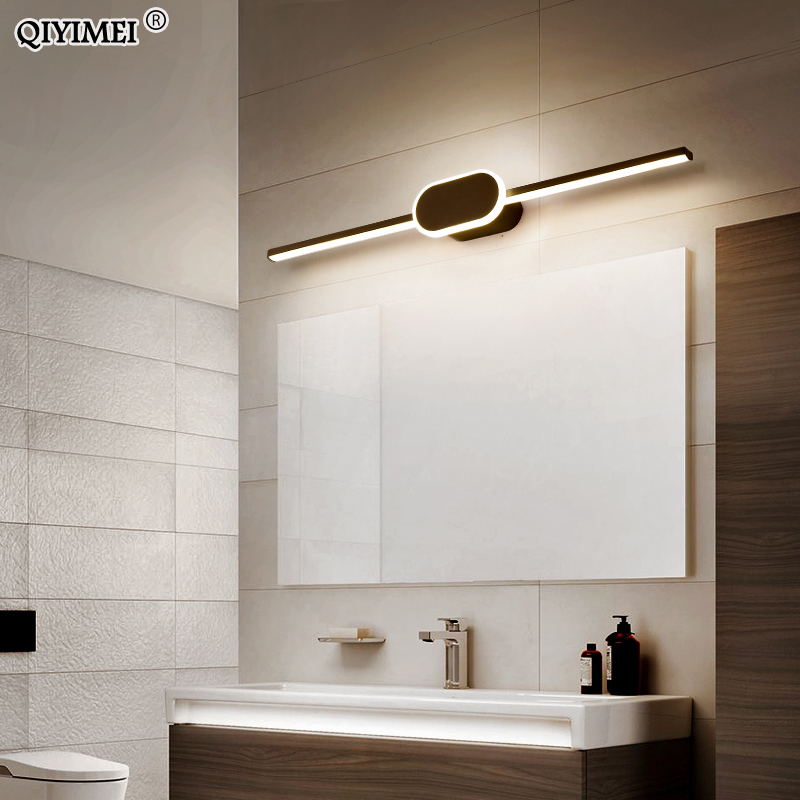 Led Wall Lamps For Bathroom Living Room White Black Iron Aluminum Acrylic Base Indoor Mirror Lights Lighting Luminaria Wandlamp