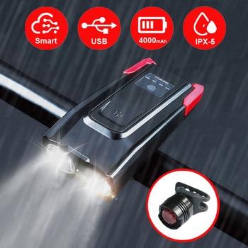 4000 mAh Indução Luz Da Frente Da Bicicleta Conjunto USB Inteligente Recarregável 800 Lumen LED Da Bicicleta Da Lâmpada Do Farol Com Chifre Ciclo Lanterna 1