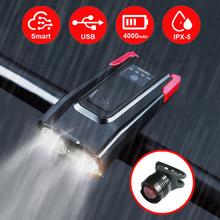 4000 mAh indukcyjna rowerów przednie światła zestaw USB akumulator inteligentny reflektor z klaksonem 800 lumenów LED lampa rowerowa cyklu latarka tanie tanio CN (pochodzenie) LED209A Kierownica Baterii Blue Green Red ABS Plastic 120dB 10 8*5 2*4 4cm 4000mAh Real 800 Lumen Smart