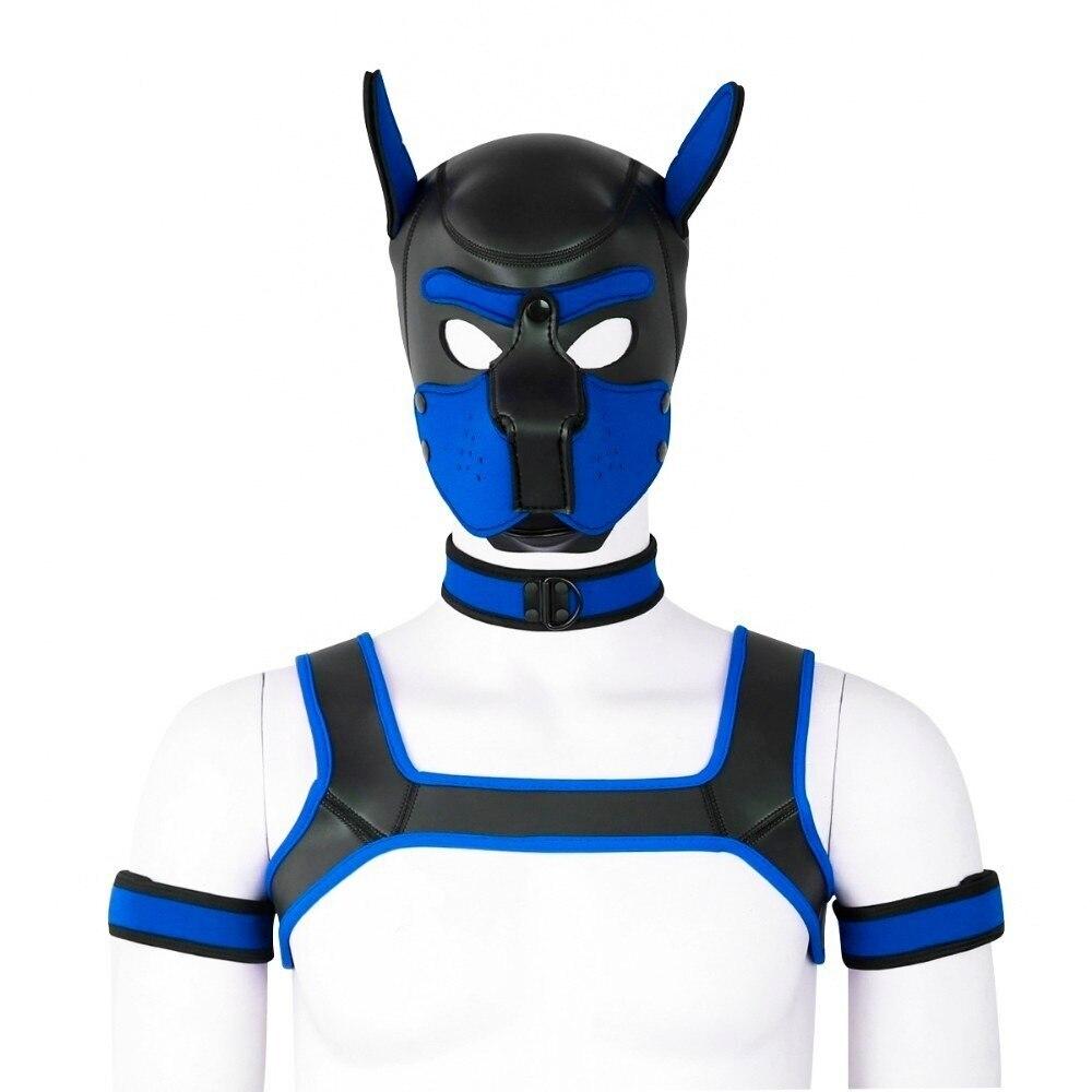 2 Sizes Neoprene Puppy Hood Custom Mask Novelty Costume Dog Head Masks Collar Choker And Armband Bdsm Sex  Bdsm Mask Bdsm Hood
