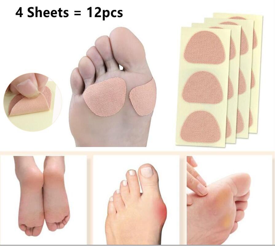 Callosités de maïs pour les pieds, patchs autocollants pour verrues épines, soulagement de la douleur, coussinets en coton, coussin de protection des orteils, soins de la peau, 12 pièces