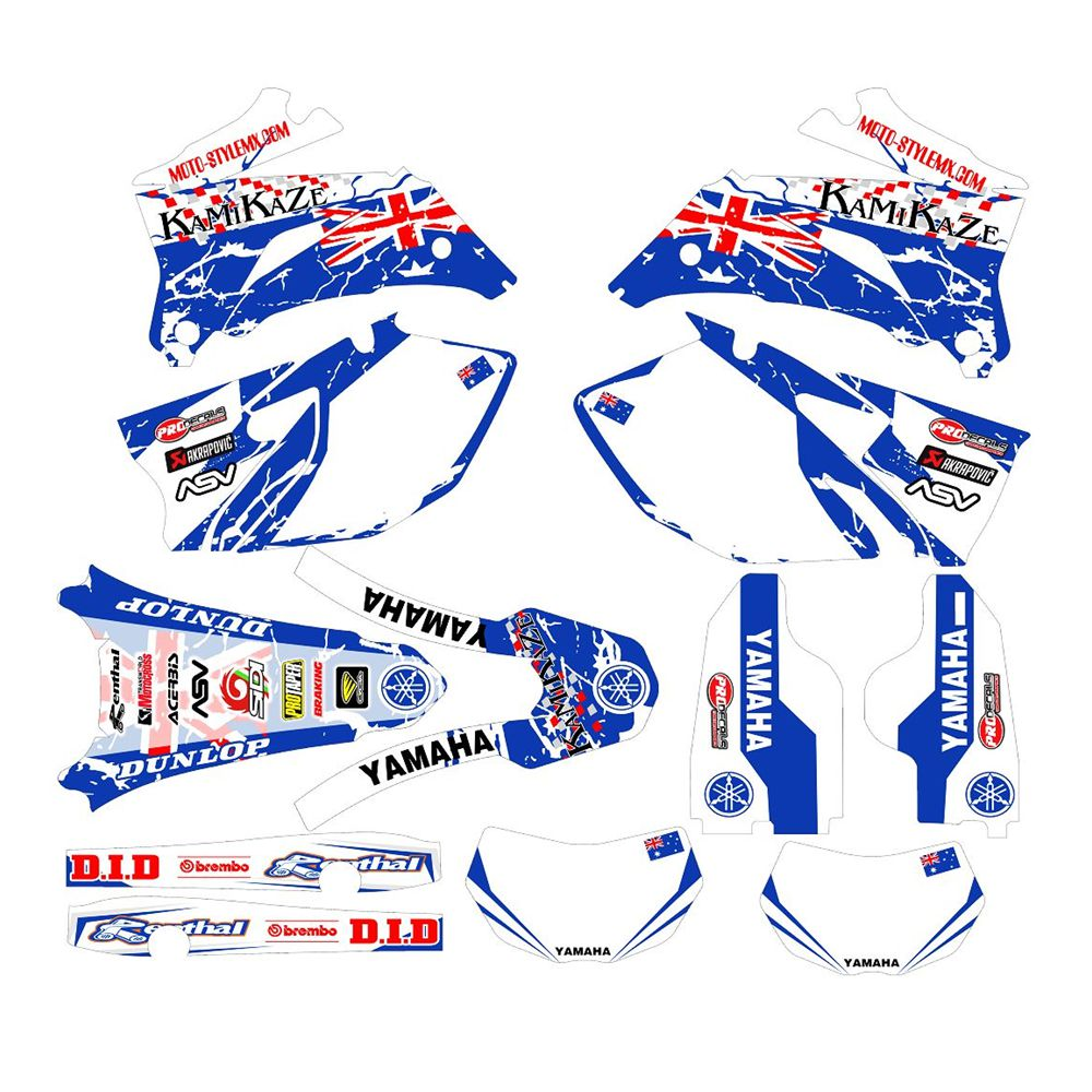 For YAMAHA WR250F 2007-2014 And 450F 2007-2011 British Flag Full Graphics Decals Stickers Custom Number Name 3M Matte