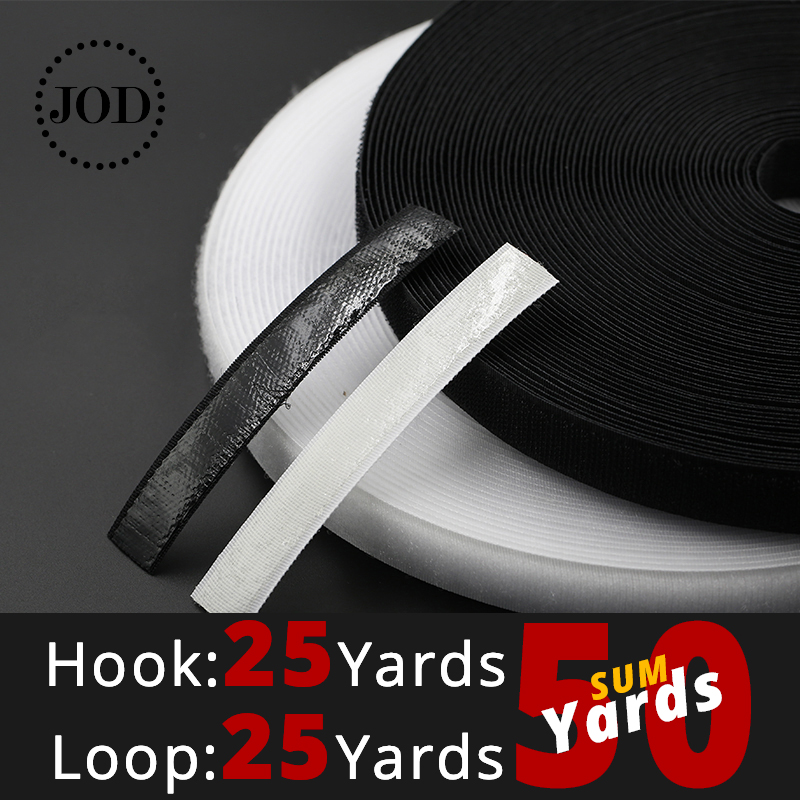 50Yards Black White Hook and Loop Fastener Tape Magic Nylon Sticker Adhesive Loop Disks Velcros 3M Glue 16/20/25/30/40/50mm JOD