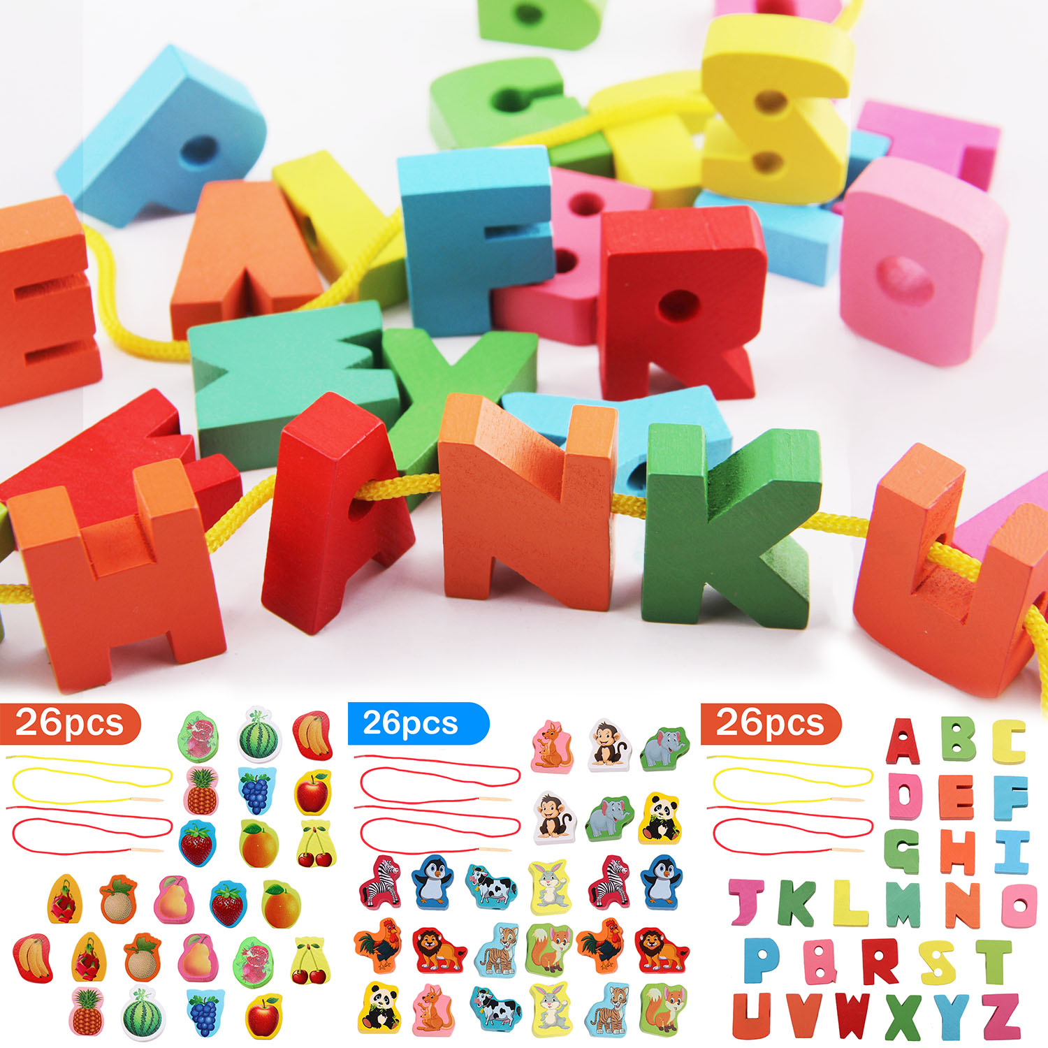 26pcs Lacing Beads Toys Funny Wooden String Threading Beads Montessori Educational Toys for Toddlers Children Kids