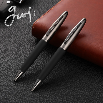 Guoyi C015 leather G2 424 Ballpoint pen Metal high-end business office gifts and corporate logo customization signature pen