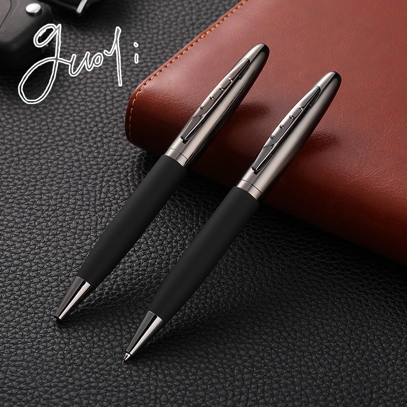Guoyi C015 creative leather metal shell ballpoint pen office for school stationery gift pen hotel business luxury G2 424 pen(China)