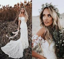 Женское кружевное свадебное платье в стиле бохо элегантное невесты
