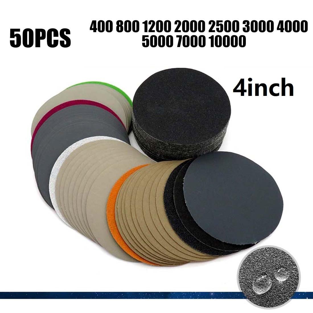 50pcs Set 4 Inch 100mm Waterproof Sandpaper 400-10000 Grit Hook & Loop Sanding Discs High Flexibility