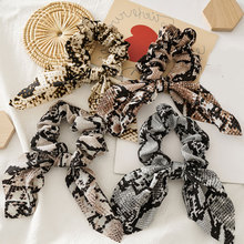 New Fashion Leopard Scrunchies Rabbit Ears Knotted Hair Rope Bow Ponytail Hair Bands Rope Ring Women Hair Accessories Headwear
