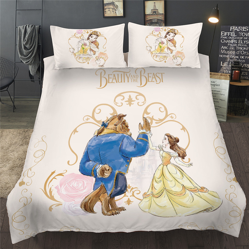 Beauty And The Beast Bedding Set Cartoon Disney Queen King Size Bed Linen Twin Full Duvet Cover Pillowcases For Kid Children Best Sale Bf6f Cicig