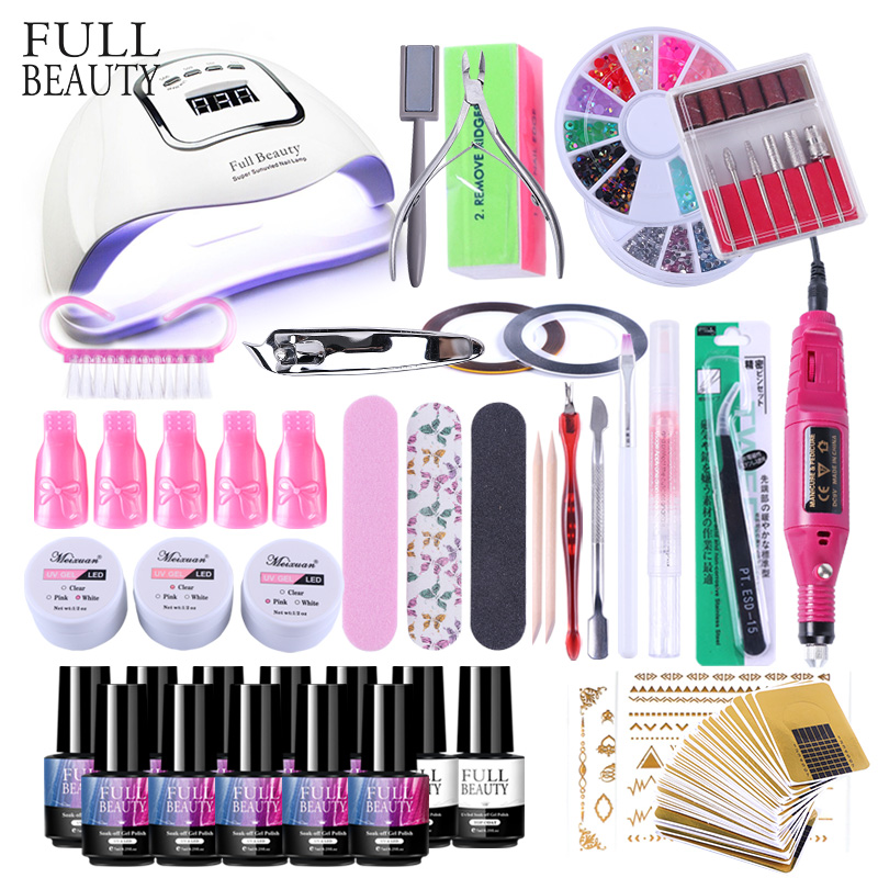 Nail Kits 90W UV Lamp Nail Dryer Soak Off Gel Nail Polish Professional Electric Drill Manicure Nail Art All For Nail Set CH1581