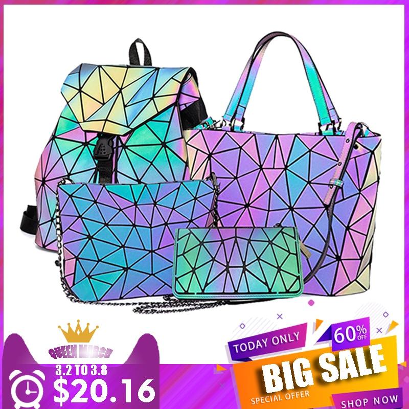 Geometric Set Changeable  Fashion Luminous Hand Bag Crossbody Bag 2019 Luxury Bags For Woman Luxury Handbags Women Bags Designer