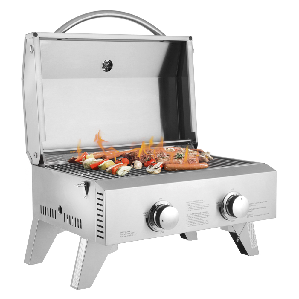 Tabletop Stainless Steel 2-Burner Gas Grill Portable BBQ Grid With Foldable Legs For Outdoor Camping Picnic Barbecue Grill