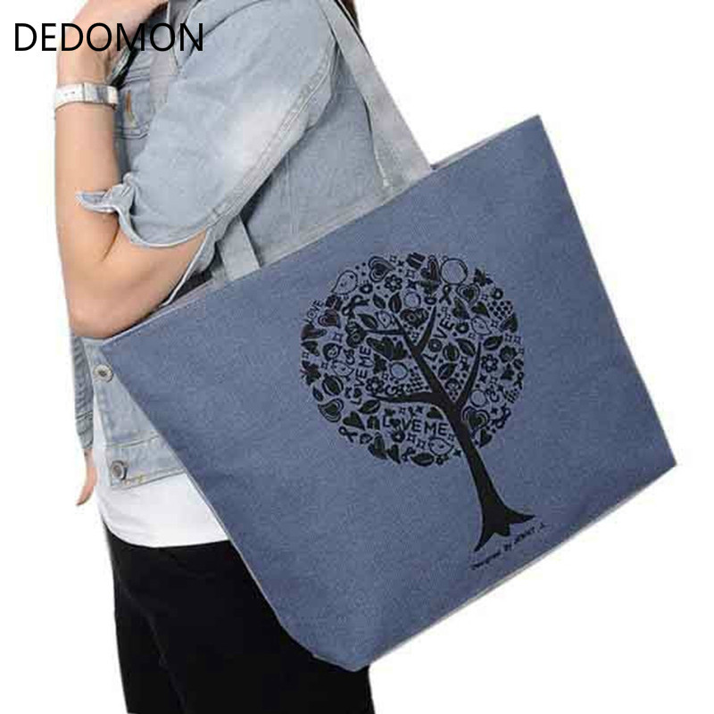 Brand Women's Canvas Handbags High Quality Female Cute Tree Printing Shoulder Bags Casual Bolsos Femenina Ladies Totes Bolsas