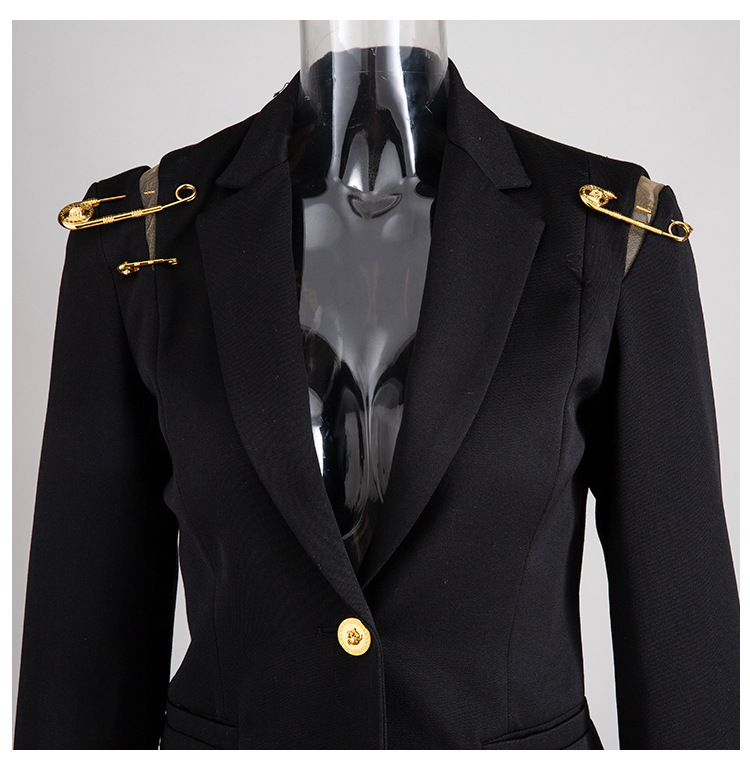H840a160972d7444eaaa65d4dd01fc983l [EAM] Loose Fit Black Hollow Out Pin Spliced Jacket New Lapel Long Sleeve Women Coat Fashion Tide Autumn Winter 2019 JZ500