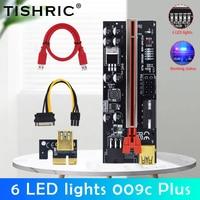 TISHRIC-elevador LED para tarjeta de vídeo, adaptador PCI Express, Molex, 6 pines, SATA a USB 3,0, X1, X16, 6 uds.
