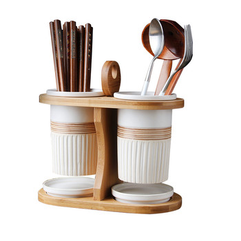 Ceramic Chopstick Cage Bamboo Double Tube Chopsticks Drain Chopsticks Cage Chopsticks Box Kitchen Chopsticks Storage фото