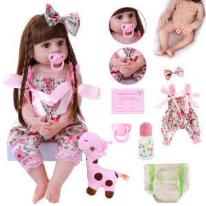 22'' Reborn Dolls Girl Soft Full Body Silicone Realistic Princess Doll Baby Toy Boneca Menina Doll Christmas Gift Playmate Toys