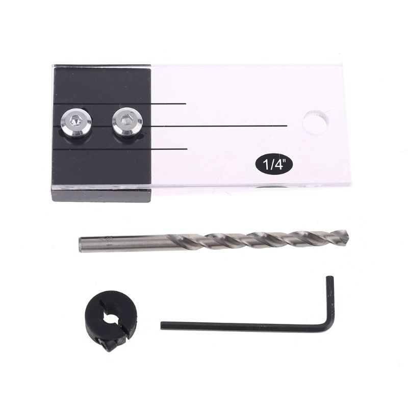 Dowel Jig Acrylic Hardened Steel Pocket Hole Jig Drill Guide Locator 1//4 Inch